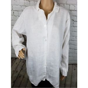 Flax Linen Button Down Shirt Blouse White Large